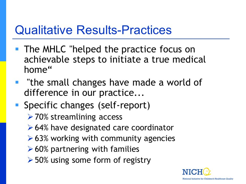 Qualitative Results-Practices The MHLC