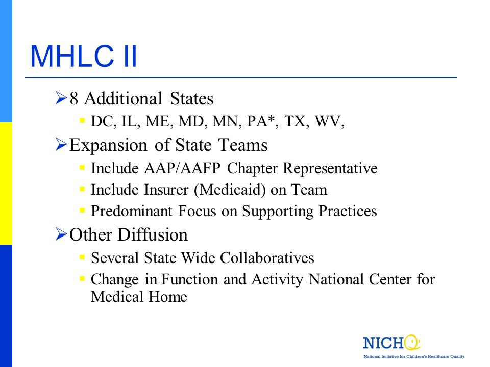MHLC II 8 Additional States DC, IL, ME, MD, MN, PA*, TX, WV, Expansion of State Teams Include AAP/AAFP Chapter Representative Include Insurer (Medicai