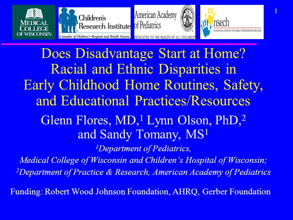 12 Multivariate Analyses: Disparities in Home Safety & Reading Activities/Resources: Young US Children Odds Ratio (95% CI)* MeasureBlackHispanic Didnt put up stair gates2.3 (1.6, 3.5)1.8 (1.2, 2.6) Didnt install cabinet safety latches/locks1.8 (1.2, 2.8)1.2 (0.8, 1.8) Didnt turn down hot water thermostat setting1.5 (1.03, 2.1)1.2 (0.8, 1.7) Parent reads to child less than daily1.6 (1.1, 2.3)1.8 (1.2, 2.5) Mean number of childrens books in home (vs.