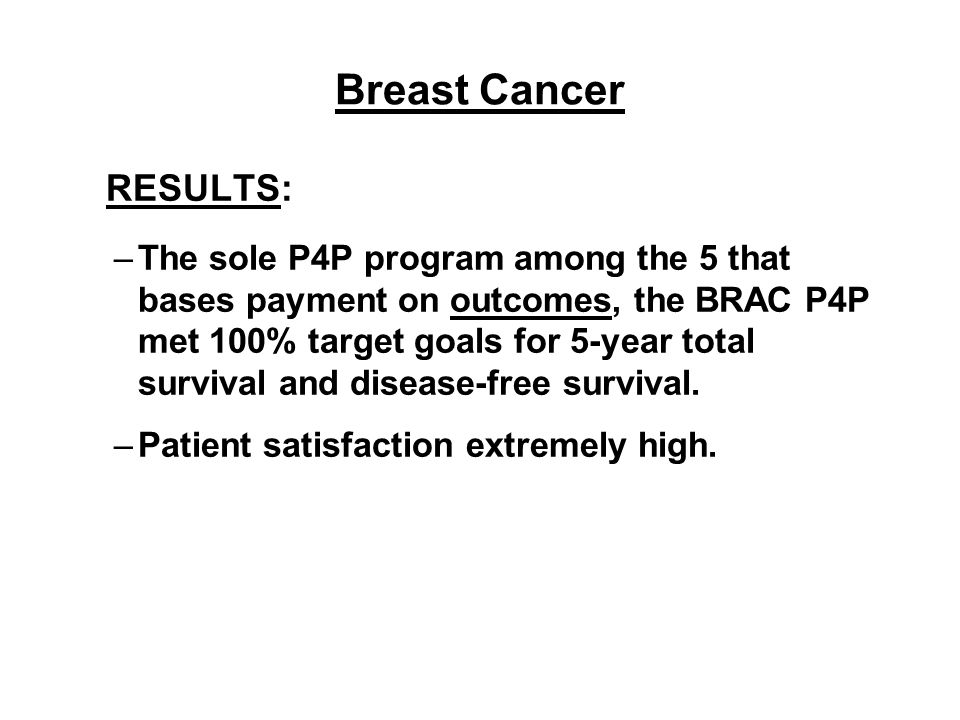 Breast Cancer RESULTS: –The sole P4P program among the 5 that bases payment on outcomes, the BRAC P4P met 100% target goals for 5-year total survival and disease-free survival.