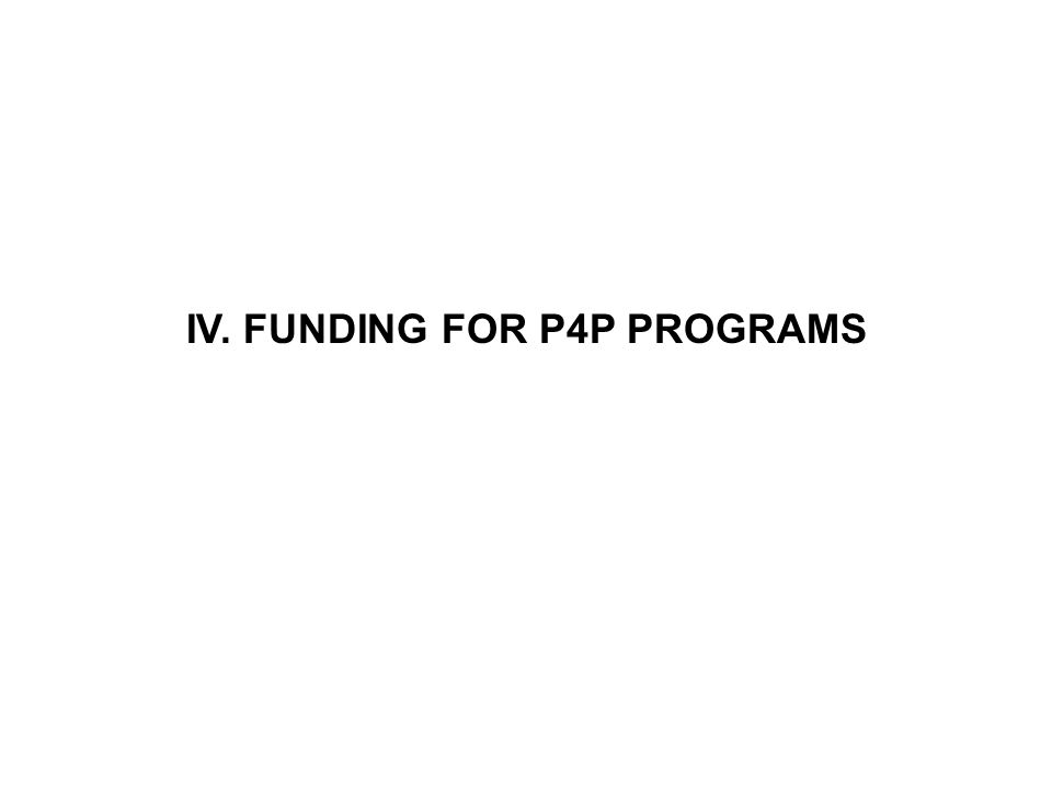 IV. FUNDING FOR P4P PROGRAMS