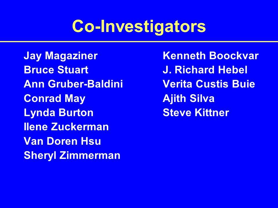 Co-Investigators Jay MagazinerKenneth Boockvar Bruce StuartJ.