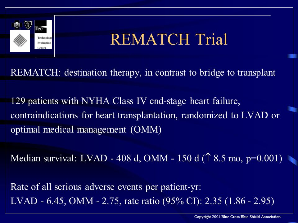 REMATCH Trial REMATCH: destination therapy, in contrast to bridge to transplant 129 patients with NYHA Class IV end-stage heart failure, contraindications for heart transplantation, randomized to LVAD or optimal medical management (OMM) Median survival: LVAD - 408 d, OMM - 150 d ( 8.5 mo, p=0.001) Rate of all serious adverse events per patient-yr: LVAD - 6.45, OMM - 2.75, rate ratio (95% CI): 2.35 (1.86 - 2.95) Copyright 2004 Blue Cross Blue Shield Association