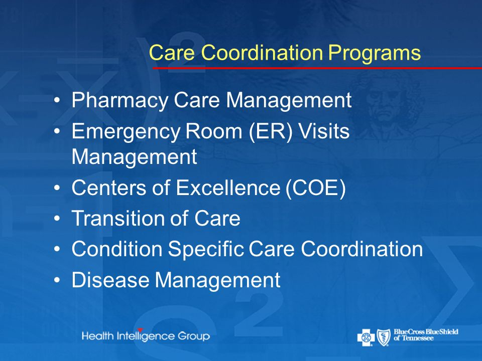 Care Coordination Programs Pharmacy Care Management Emergency Room (ER) Visits Management Centers of Excellence (COE) Transition of Care Condition Specific Care Coordination Disease Management