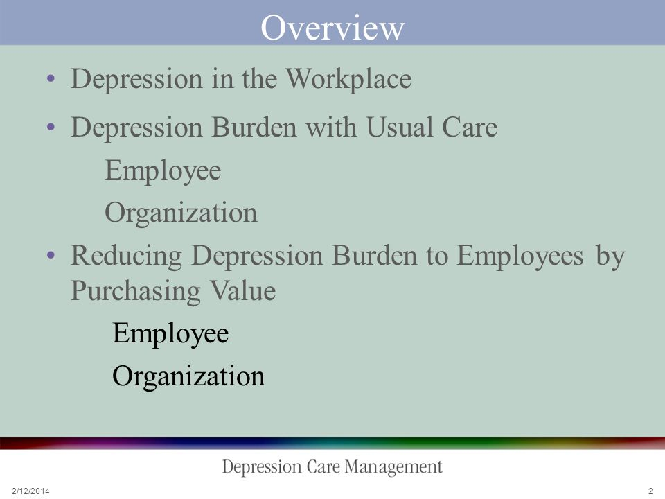 2/12/2014 2 Overview Depression in the Workplace Depression Burden with Usual Care Employee Organization Reducing Depression Burden to Employees by Purchasing Value Employee Organization