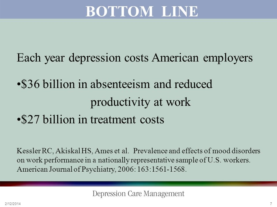 2/12/2014 7 BOTTOM LINE Each year depression costs American employers $36 billion in absenteeism and reduced productivity at work $27 billion in treatment costs Kessler RC, Akiskal HS, Ames et al.