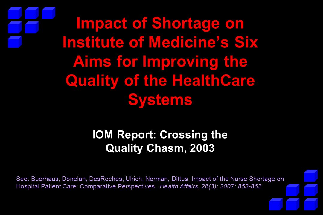 Impact of Shortage on Institute of Medicines Six Aims for Improving the Quality of the HealthCare Systems IOM Report: Crossing the Quality Chasm, 2003 See: Buerhaus, Donelan, DesRoches, Ulrich, Norman, Dittus.