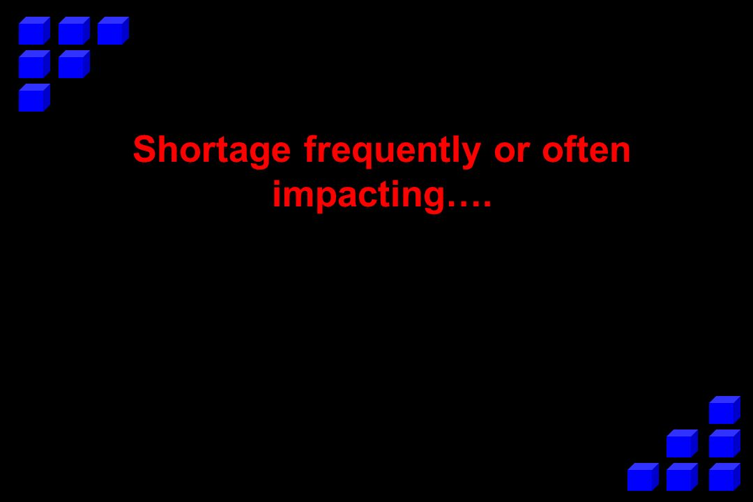 Shortage frequently or often impacting….