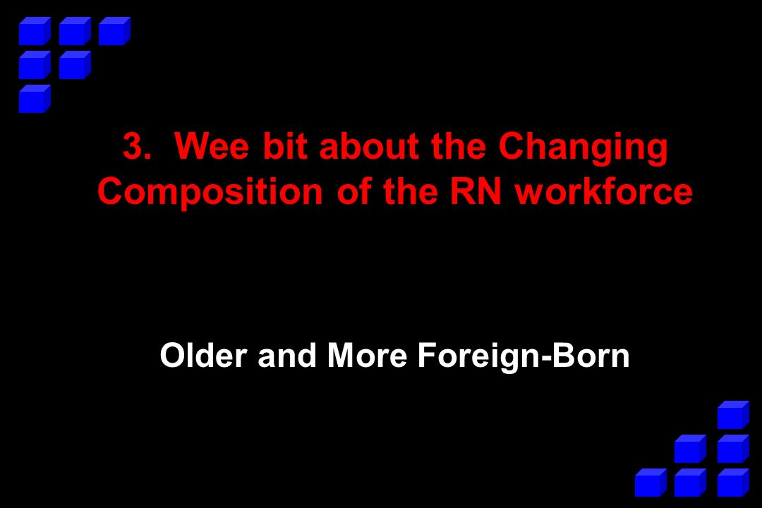3. Wee bit about the Changing Composition of the RN workforce Older and More Foreign-Born