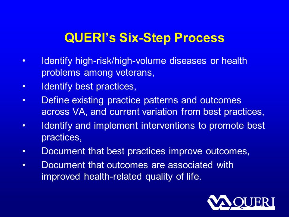 QUERIs Six-Step Process Identify high-risk/high-volume diseases or health problems among veterans, Identify best practices, Define existing practice patterns and outcomes across VA, and current variation from best practices, Identify and implement interventions to promote best practices, Document that best practices improve outcomes, Document that outcomes are associated with improved health-related quality of life.