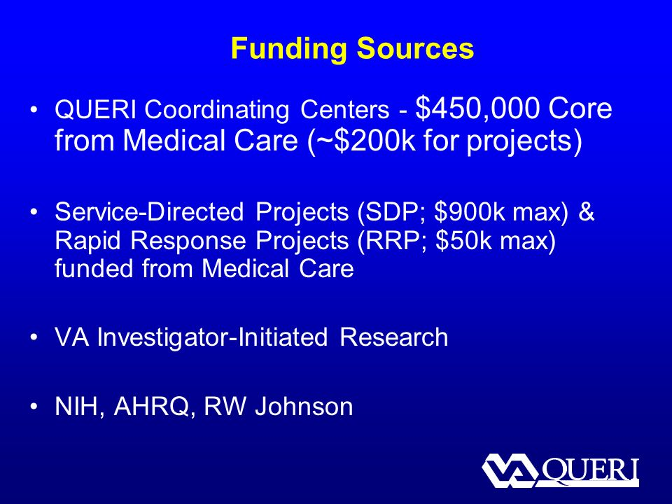 Funding Sources QUERI Coordinating Centers - $450,000 Core from Medical Care (~$200k for projects) Service-Directed Projects (SDP; $900k max) & Rapid Response Projects (RRP; $50k max) funded from Medical Care VA Investigator-Initiated Research NIH, AHRQ, RW Johnson