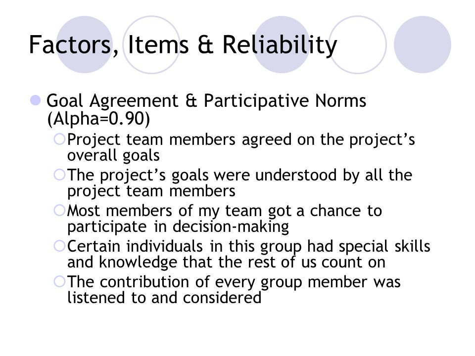 Factors, Items & Reliability Goal Agreement & Participative Norms (Alpha=0.90) Project team members agreed on the projects overall goals The projects goals were understood by all the project team members Most members of my team got a chance to participate in decision-making Certain individuals in this group had special skills and knowledge that the rest of us count on The contribution of every group member was listened to and considered