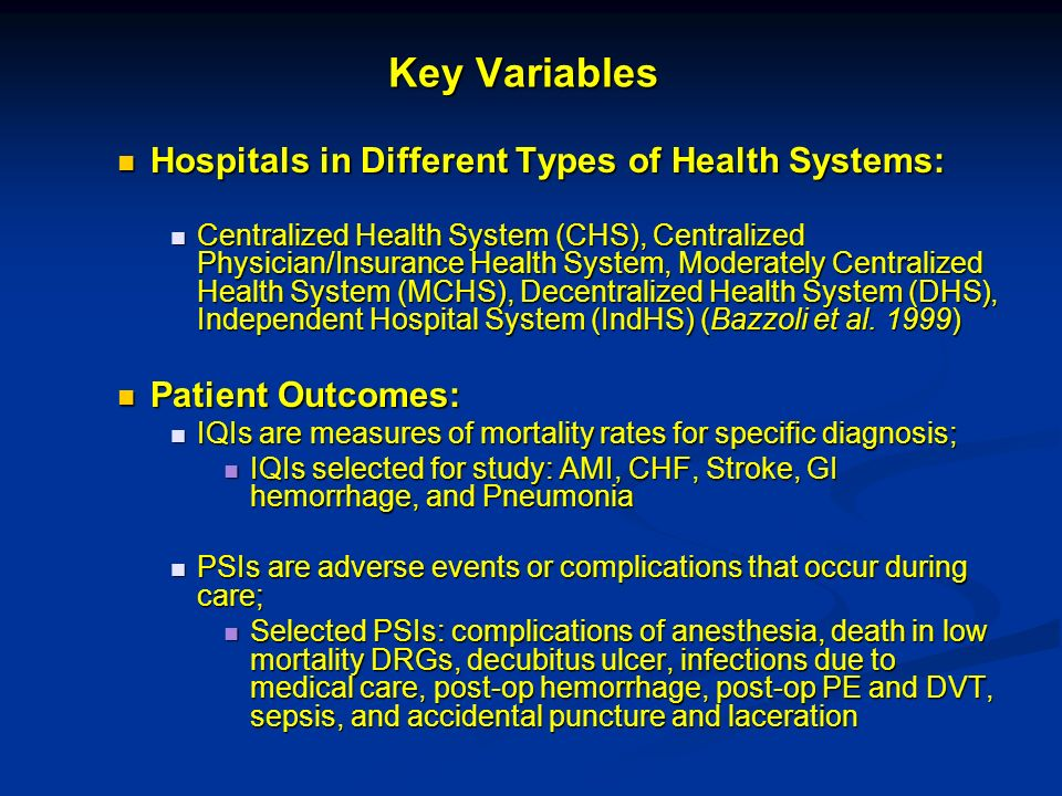 Key Variables Hospitals in Different Types of Health Systems: Hospitals in Different Types of Health Systems: Centralized Health System (CHS), Centralized Physician/Insurance Health System, Moderately Centralized Health System (MCHS), Decentralized Health System (DHS), Independent Hospital System (IndHS) (Bazzoli et al.