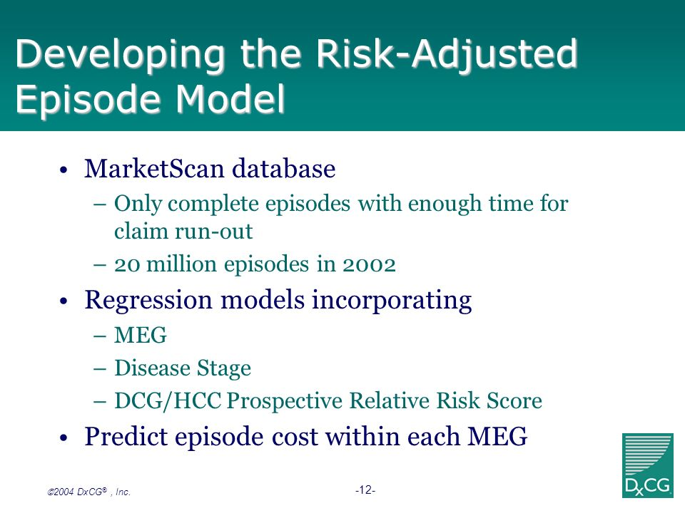 2004 DxCG ®, Inc. -12- Developing the Risk-Adjusted Episode Model MarketScan database –Only complete episodes with enough time for claim run-out –20 m