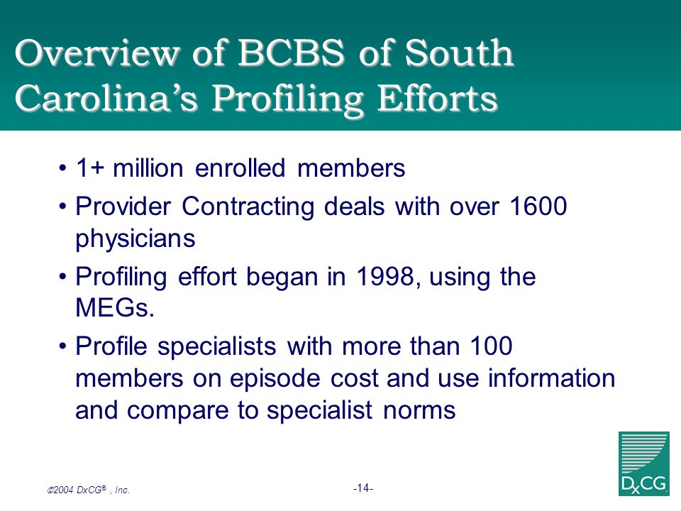 2004 DxCG ®, Inc. -14- Overview of BCBS of South Carolinas Profiling Efforts 1+ million enrolled members Provider Contracting deals with over 1600 phy