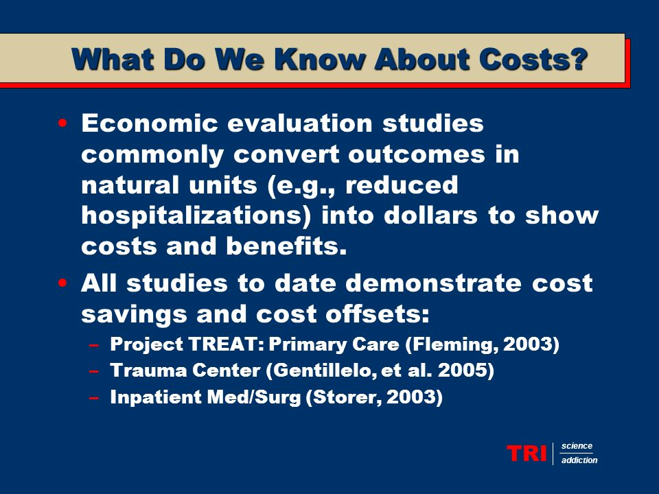 TRI science addiction What Do We Know About Costs.