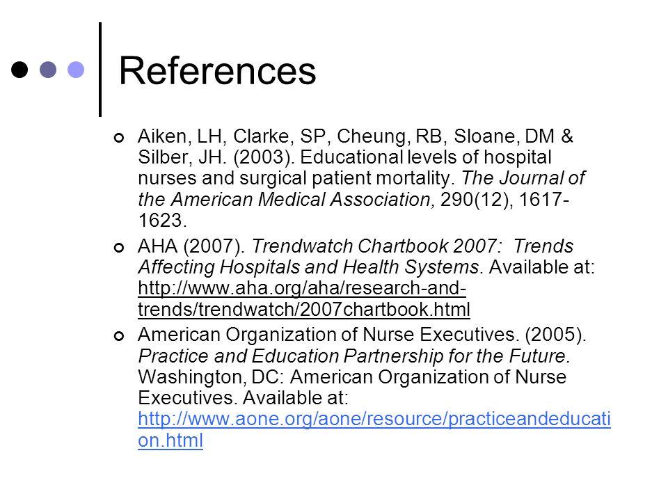 References Aiken, LH, Clarke, SP, Cheung, RB, Sloane, DM & Silber, JH.