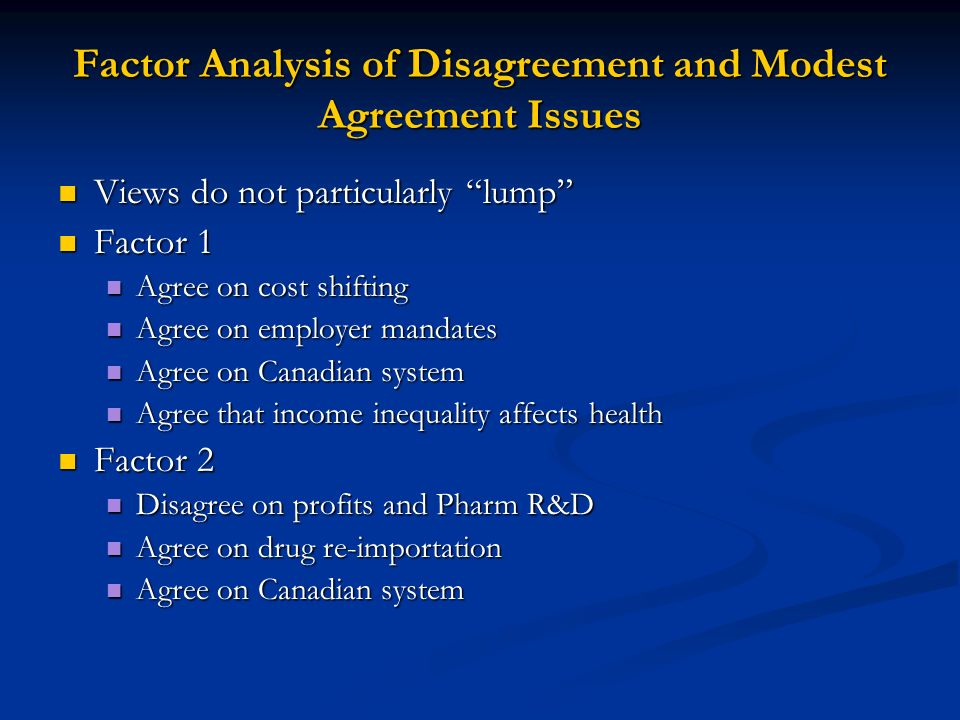 Probit Descriptive Analysis of Disagreement and Modest Agreement Agree = f (degree type, training, experience, demographics, and employment setting) Agree = f (degree type, training, experience, demographics, and employment setting) No consistent pattern of responses across issues No consistent pattern of responses across issues Few statistically significant associations Few statistically significant associations