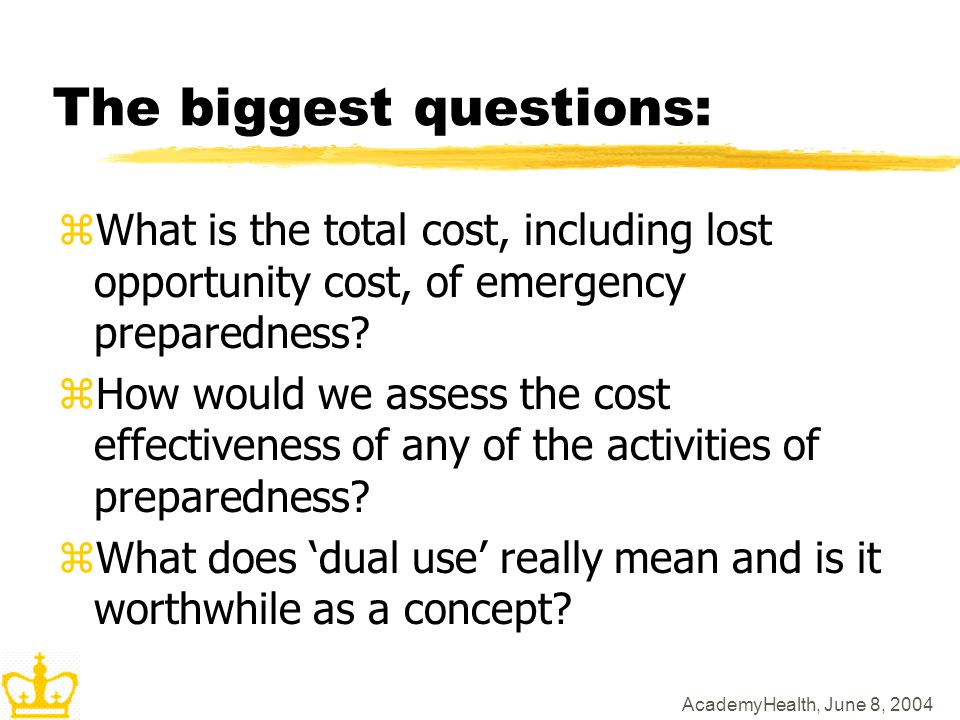 The biggest questions: zWhat is the total cost, including lost opportunity cost, of emergency preparedness? zHow would we assess the cost effectivenes