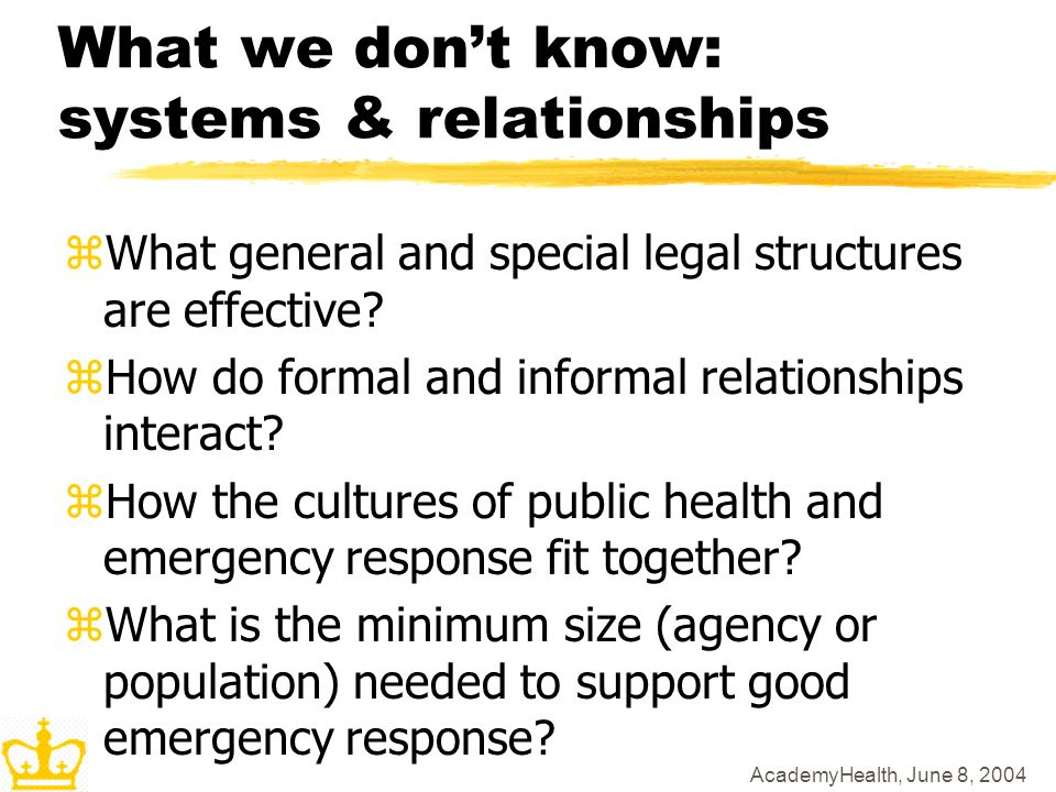 AcademyHealth, June 8, 2004 What we dont know: systems & relationships zWhat general and special legal structures are effective? zHow do formal and in