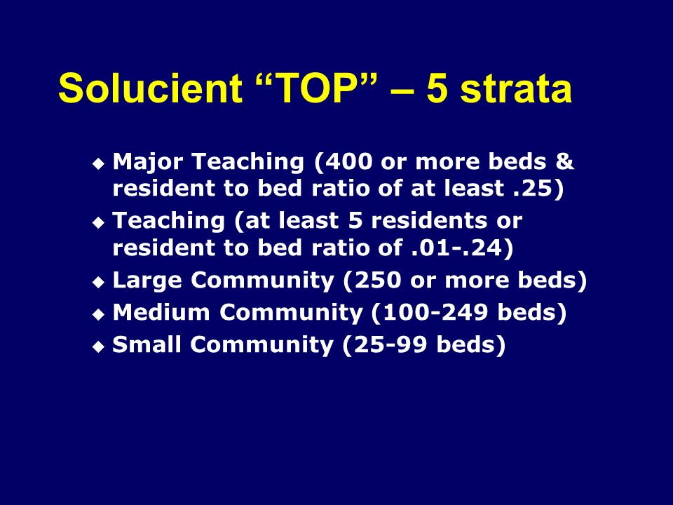 Solucient TOP – 5 strata Major Teaching (400 or more beds & resident to bed ratio of at least.25) Teaching (at least 5 residents or resident to bed ratio of.01-.24) Large Community (250 or more beds) Medium Community (100-249 beds) Small Community (25-99 beds)
