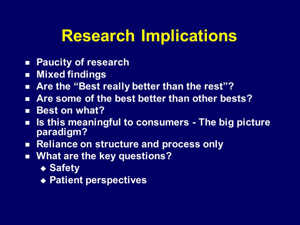 Research Implications Paucity of research Mixed findings Are the Best really better than the rest.