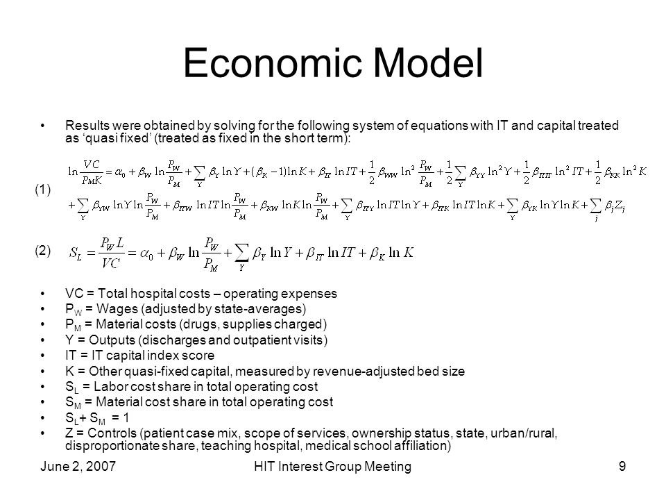 June 2, 2007HIT Interest Group Meeting9 Economic Model Results were obtained by solving for the following system of equations with IT and capital trea