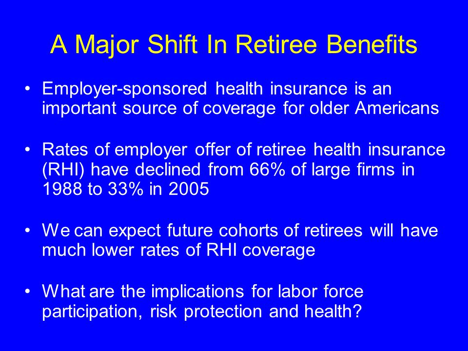Health and Retirement Survey 1992-2002 Offer: can continue current employer-sponsored coverage in retirement Health Shocks: acute (heart attack, stroke) and chronic (diagnosis of diabetes, high blood pressure) Full-Time Retirement: not working or looking for work and indicates retirement Health: self-reported health, difficulty with activities of daily living