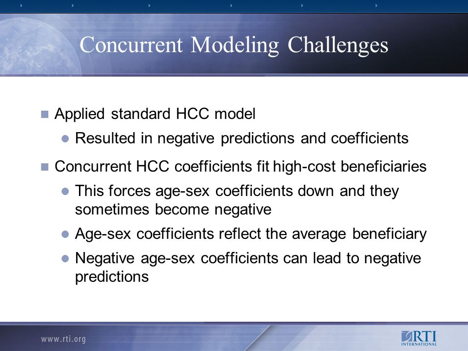 Model Evaluation Measures of Model Performance R 2 within.04 for all models R 2 did not differentiate models Predictive Ratio = Average of models predictions Average of actual expenditures Where each of the two averages is taken over the individuals in the subgroup Predicted expenditure deciles Number of HCCs for a beneficiary