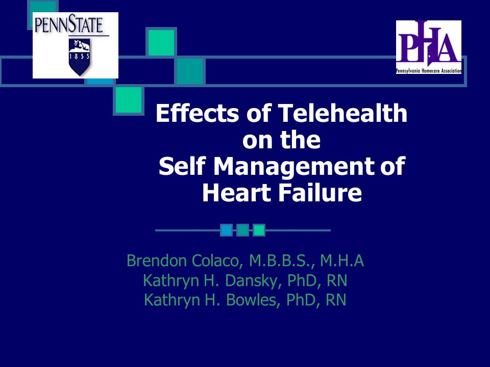 Effects of Telehealth on the Self Management of Heart Failure Brendon Colaco, M.B.B.S., M.H.A Kathryn H. Dansky, PhD, RN Kathryn H. Bowles, PhD, RN