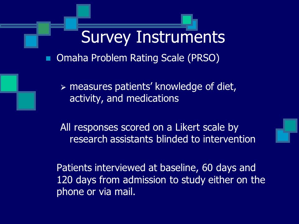 Survey Instruments Omaha Problem Rating Scale (PRSO) measures patients knowledge of diet, activity, and medications All responses scored on a Likert scale by research assistants blinded to intervention Patients interviewed at baseline, 60 days and 120 days from admission to study either on the phone or via mail.
