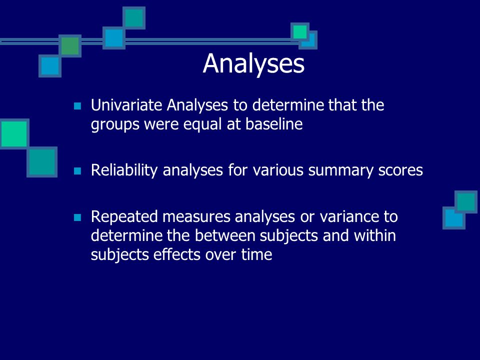 Analyses Univariate Analyses to determine that the groups were equal at baseline Reliability analyses for various summary scores Repeated measures ana