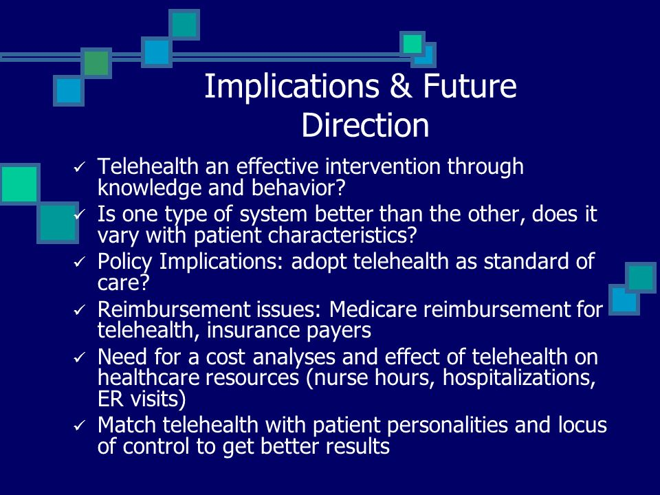 Implications & Future Direction Telehealth an effective intervention through knowledge and behavior.