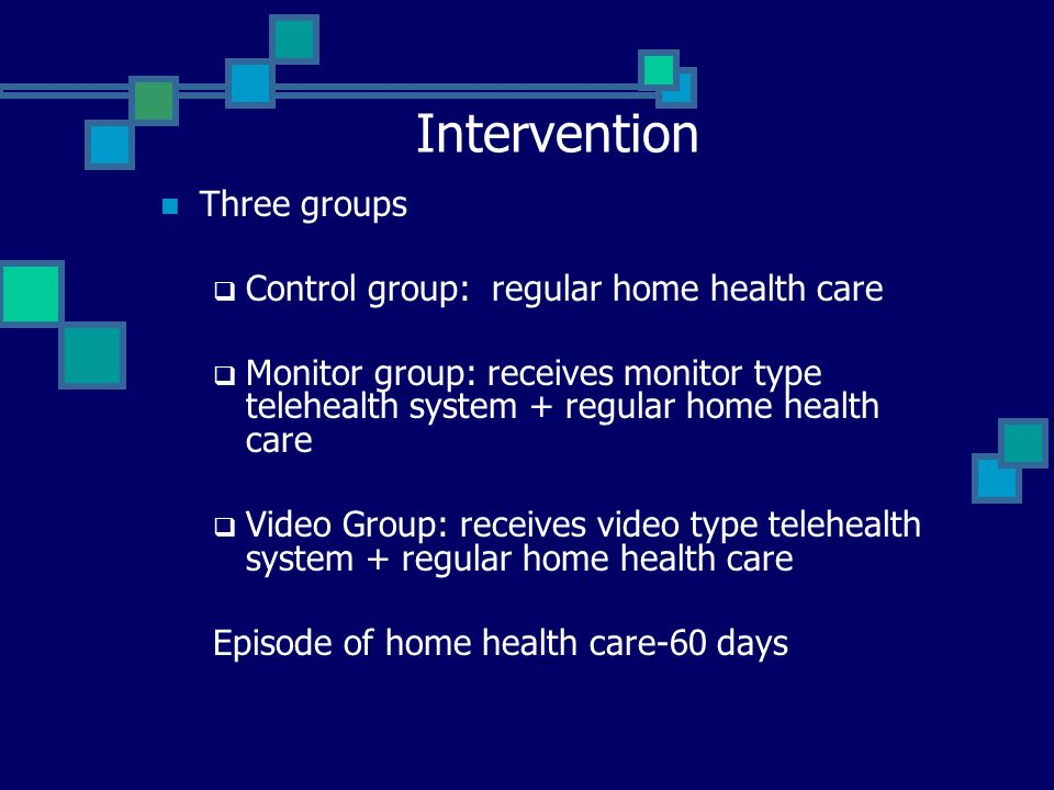 Intervention Three groups Control group: regular home health care Monitor group: receives monitor type telehealth system + regular home health care Vi