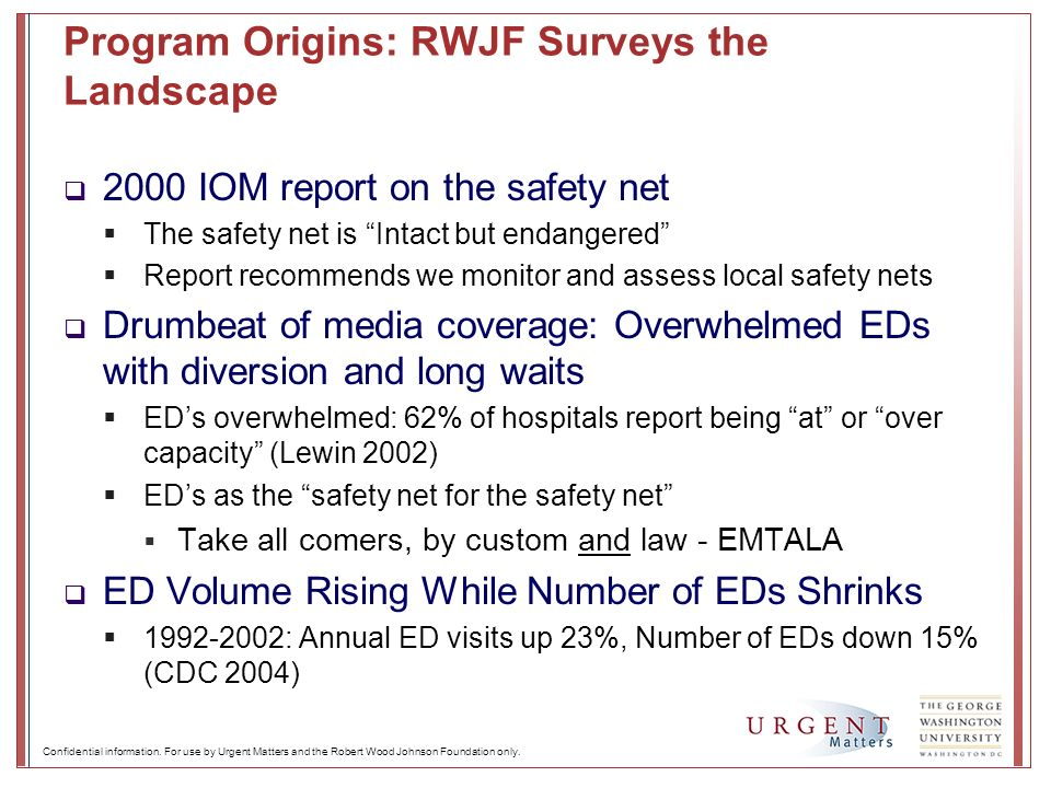 Confidential information. For use by Urgent Matters and the Robert Wood Johnson Foundation only. Program Origins: RWJF Surveys the Landscape 2000 IOM