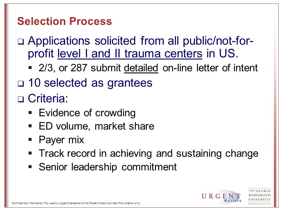 Selection Process Applications solicited from all public/not-for- profit level I and II trauma centers in US. 2/3, or 287 submit detailed on-line lett