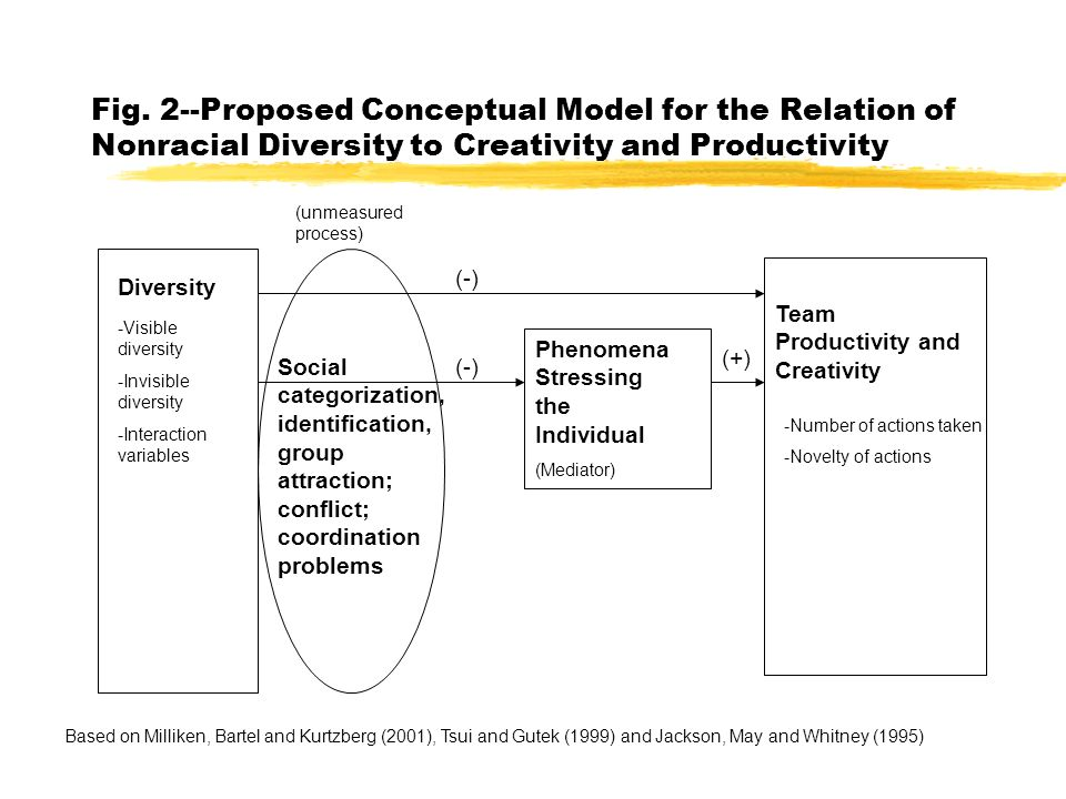 Fig. 2--Proposed Conceptual Model for the Relation of Nonracial Diversity to Creativity and Productivity Diversity Social categorization, identificati