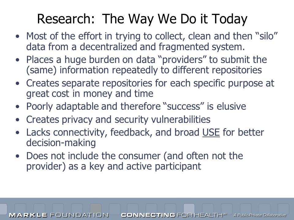 Research: The Way We Do it Today Most of the effort in trying to collect, clean and then silo data from a decentralized and fragmented system. Places