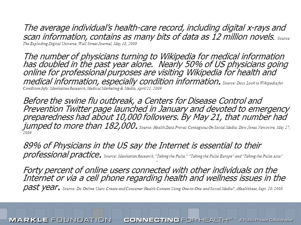 The average individuals health-care record, including digital x-rays and scan information, contains as many bits of data as 12 million novels. Source: