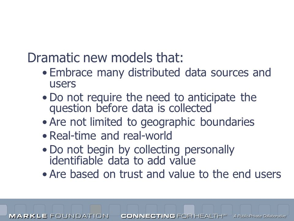 Innovation and the Internet Dramatic new models that: Embrace many distributed data sources and users Do not require the need to anticipate the questi