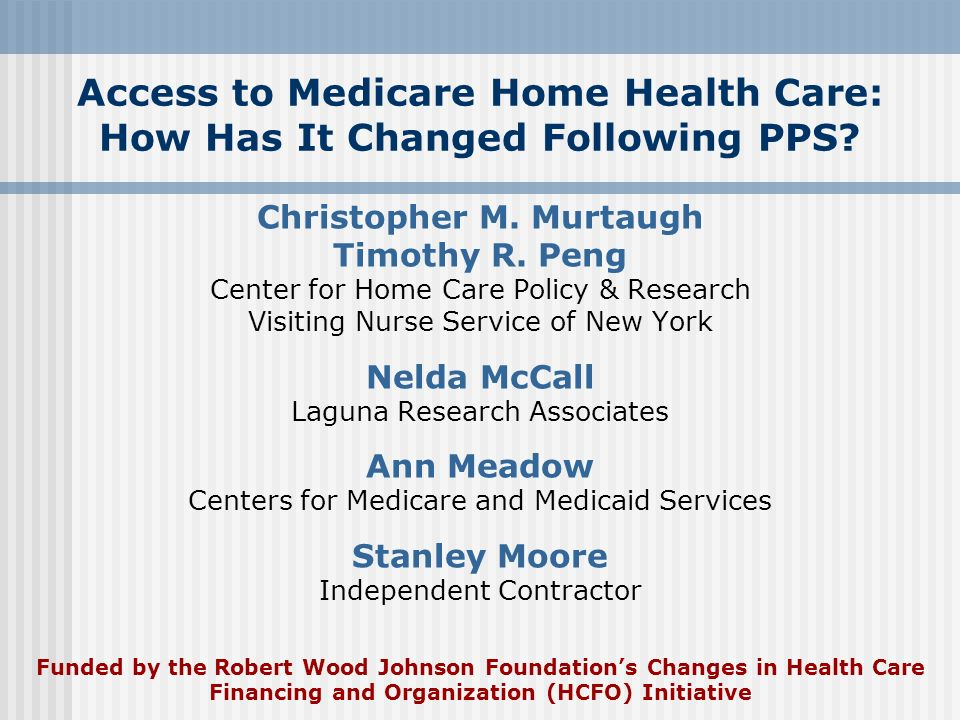 Access to Medicare Home Health Care: How Has It Changed Following PPS? Christopher M. Murtaugh Timothy R. Peng Center for Home Care Policy & Research