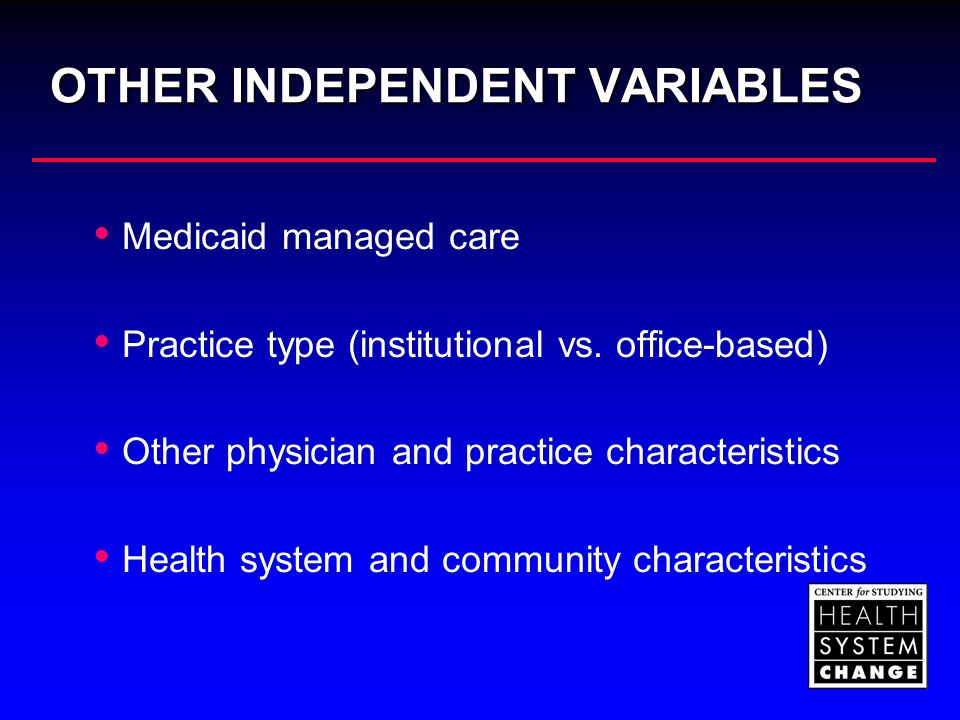 OTHER INDEPENDENT VARIABLES Medicaid managed care Practice type (institutional vs. office-based) Other physician and practice characteristics Health s