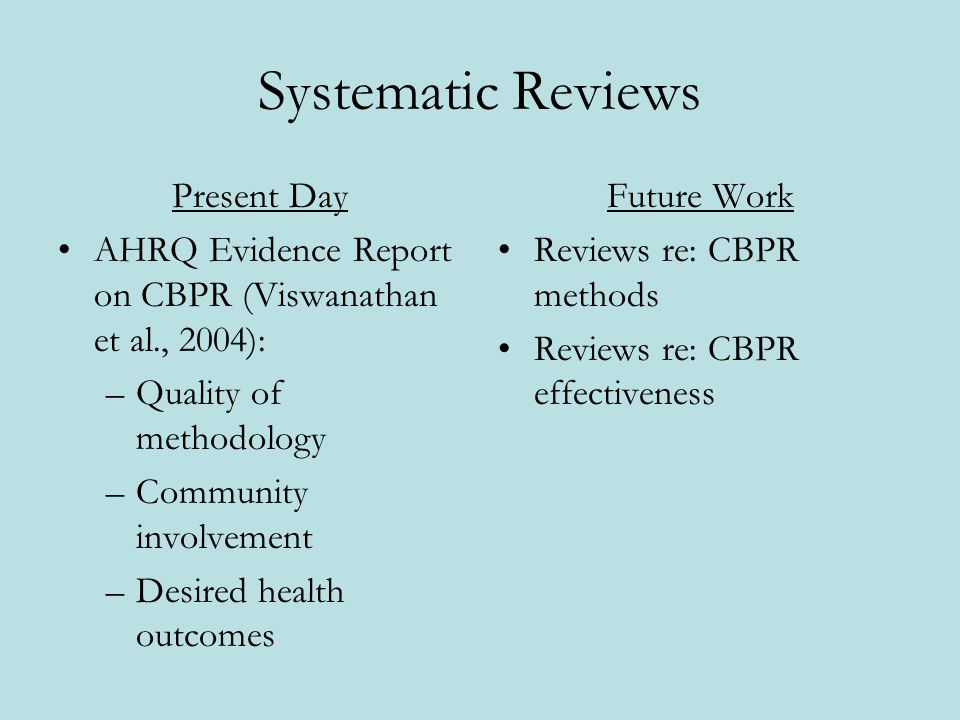 Systematic Reviews Present Day AHRQ Evidence Report on CBPR (Viswanathan et al., 2004): –Quality of methodology –Community involvement –Desired health outcomes Future Work Reviews re: CBPR methods Reviews re: CBPR effectiveness