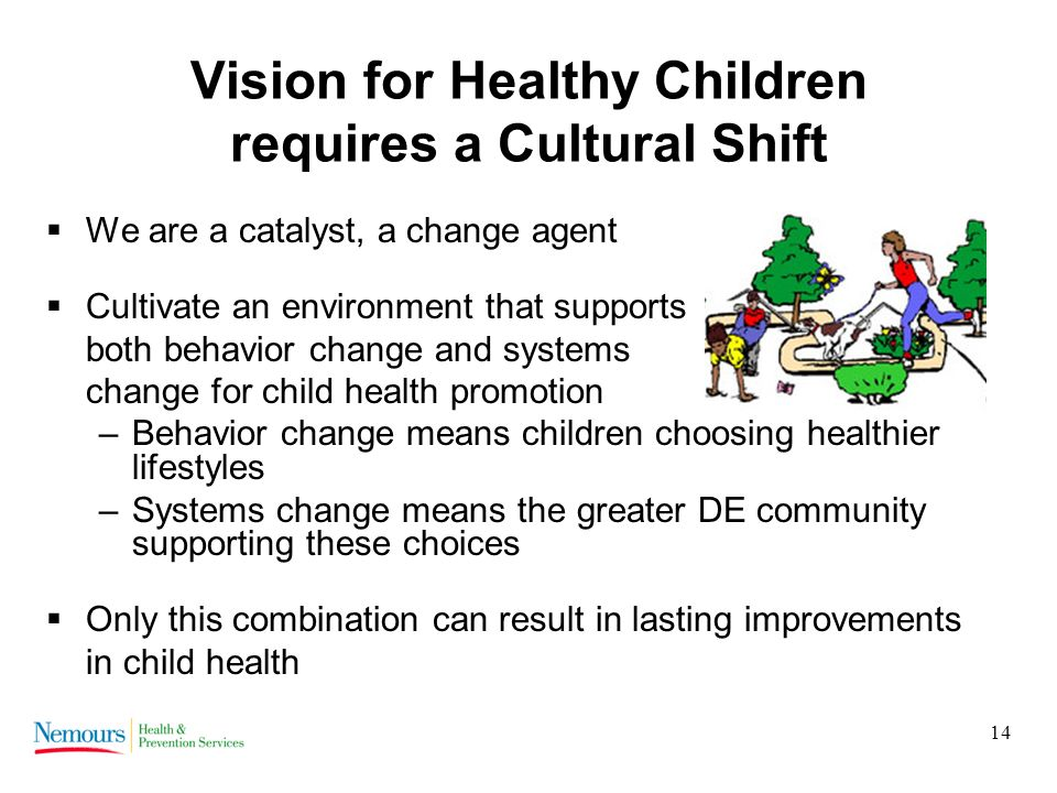 14 Vision for Healthy Children requires a Cultural Shift We are a catalyst, a change agent Cultivate an environment that supports both behavior change and systems change for child health promotion –Behavior change means children choosing healthier lifestyles –Systems change means the greater DE community supporting these choices Only this combination can result in lasting improvements in child health