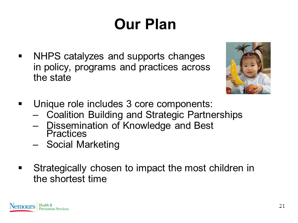 21 Our Plan NHPS catalyzes and supports changes in policy, programs and practices across the state Unique role includes 3 core components: –Coalition Building and Strategic Partnerships –Dissemination of Knowledge and Best Practices –Social Marketing Strategically chosen to impact the most children in the shortest time