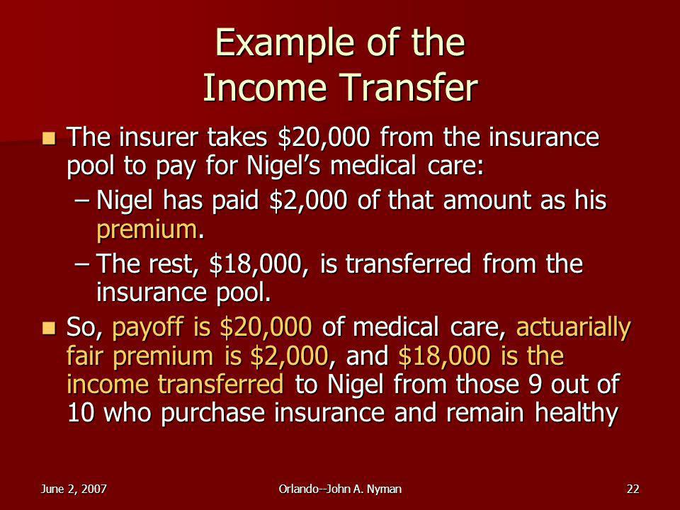 June 2, 2007Orlando--John A. Nyman22 Example of the Income Transfer The insurer takes $20,000 from the insurance pool to pay for Nigels medical care:
