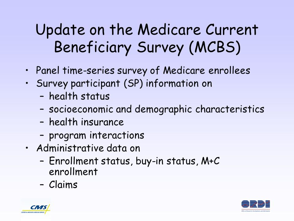 Update on the Medicare Current Beneficiary Survey (MCBS) Panel time-series survey of Medicare enrollees Survey participant (SP) information on –health status –socioeconomic and demographic characteristics –health insurance –program interactions Administrative data on –Enrollment status, buy-in status, M+C enrollment –Claims