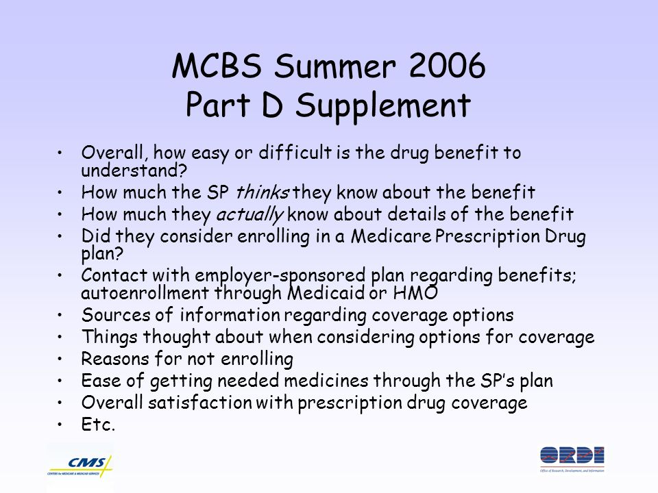 MCBS Summer 2006 Part D Supplement Overall, how easy or difficult is the drug benefit to understand.
