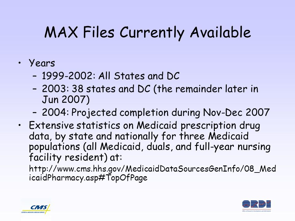 MAX Files Currently Available Years –1999-2002: All States and DC –2003: 38 states and DC (the remainder later in Jun 2007) –2004: Projected completion during Nov-Dec 2007 Extensive statistics on Medicaid prescription drug data, by state and nationally for three Medicaid populations (all Medicaid, duals, and full-year nursing facility resident) at: http://www.cms.hhs.gov/MedicaidDataSourcesGenInfo/08_Med icaidPharmacy.asp#TopOfPage