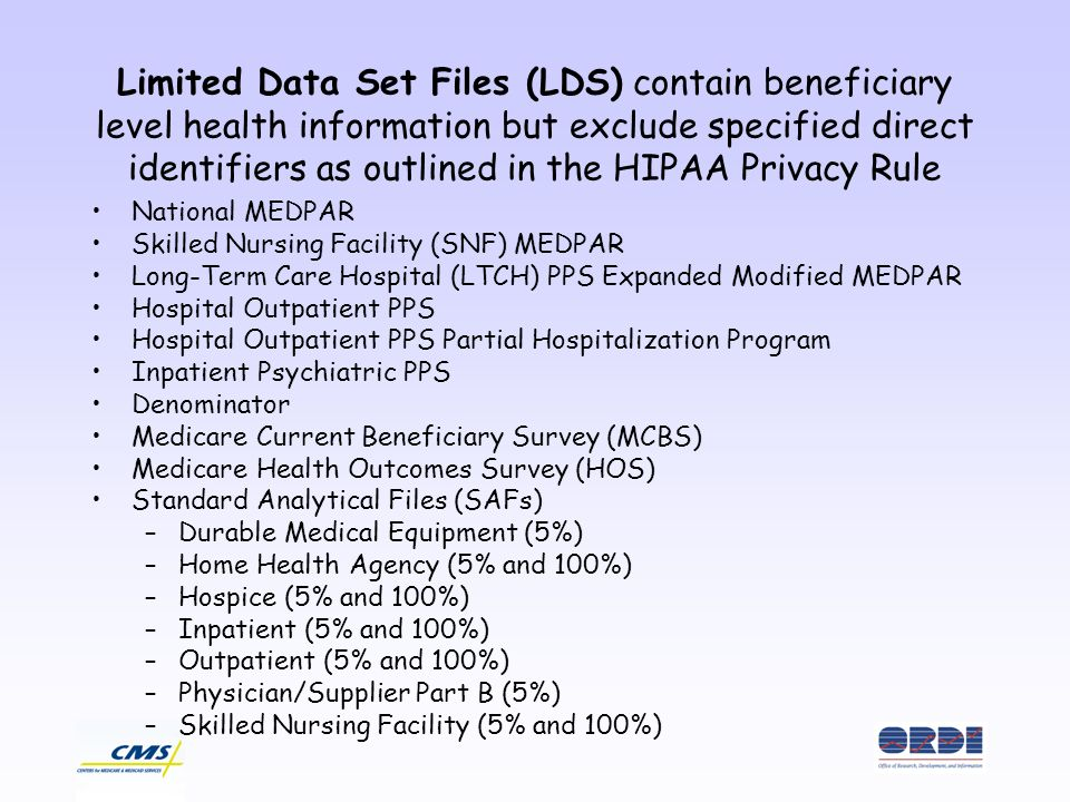 Limited Data Set Files (LDS) contain beneficiary level health information but exclude specified direct identifiers as outlined in the HIPAA Privacy Rule National MEDPAR Skilled Nursing Facility (SNF) MEDPAR Long-Term Care Hospital (LTCH) PPS Expanded Modified MEDPAR Hospital Outpatient PPS Hospital Outpatient PPS Partial Hospitalization Program Inpatient Psychiatric PPS Denominator Medicare Current Beneficiary Survey (MCBS) Medicare Health Outcomes Survey (HOS) Standard Analytical Files (SAFs) –Durable Medical Equipment (5%) –Home Health Agency (5% and 100%) –Hospice (5% and 100%) –Inpatient (5% and 100%) –Outpatient (5% and 100%) –Physician/Supplier Part B (5%) –Skilled Nursing Facility (5% and 100%)